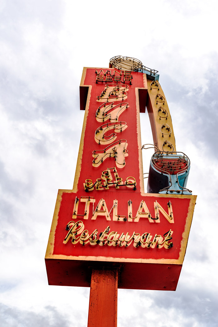 An old retro sign for an Italian restaurant.