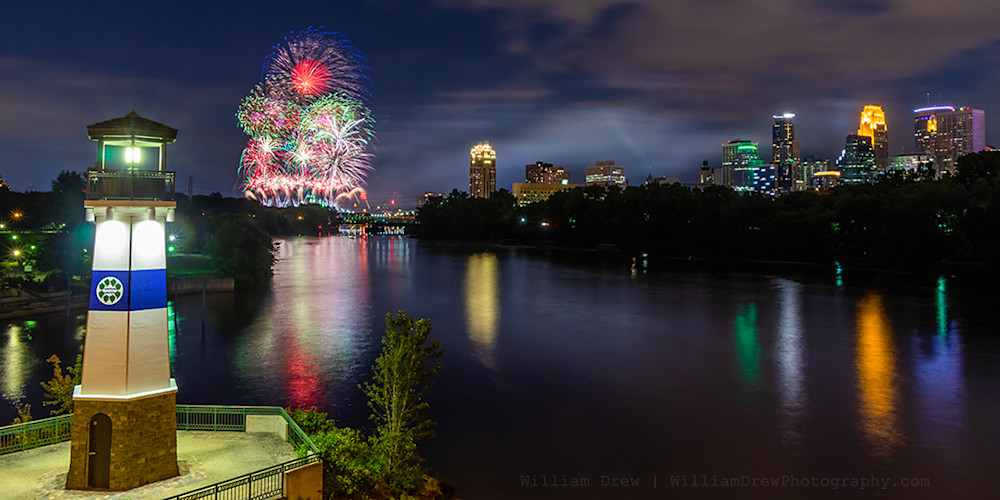 Minneapolis Aquatennial Fireworks Photo with Lighthouse and Skyline - Minneapolis Wall Art | William Drew Photography