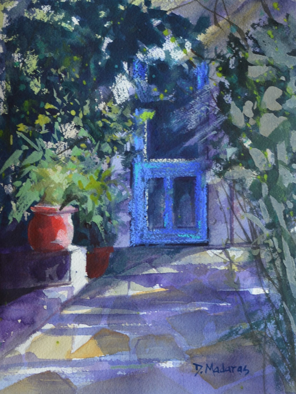 Blue Door in the Garden | Watercolor