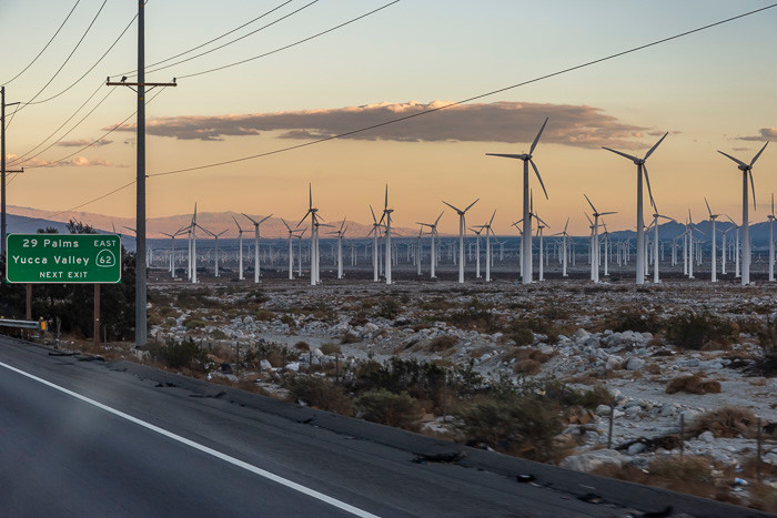 A wind farm in Yucca Valley, ,CA