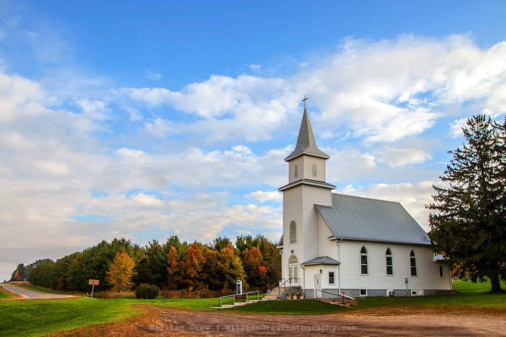Country Church - Fall Color Art | William Drew Photography