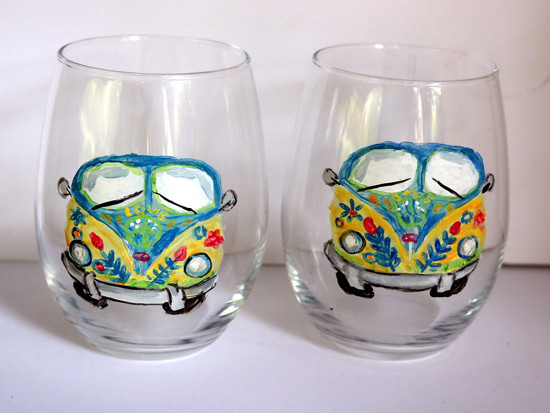 Hippie Van Wine Glasses