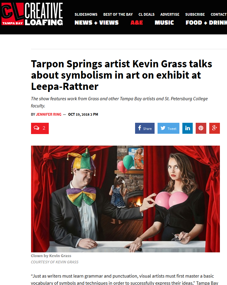 Kevin Grass article about symbolism in art in Creative Loafing magazine