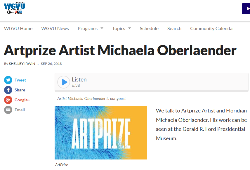 We talk to Artprize Artist and Floridian Michaela Oberlaender about Kevin Grass's artwork.