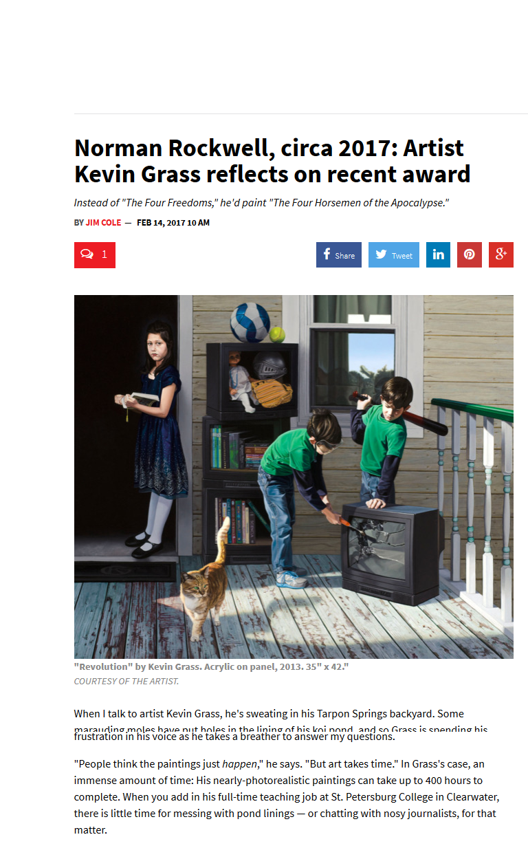 Norman Rockwell, circa 2017: Artist Kevin Grass reflects on recent award in Creative Loafing magazine