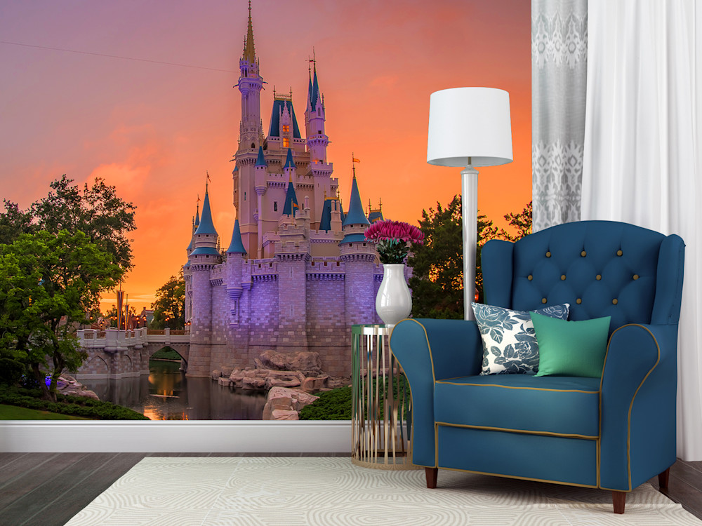 Cinderella's Castle Sunset - Disney Castle Wall Murals | William Drew Photography