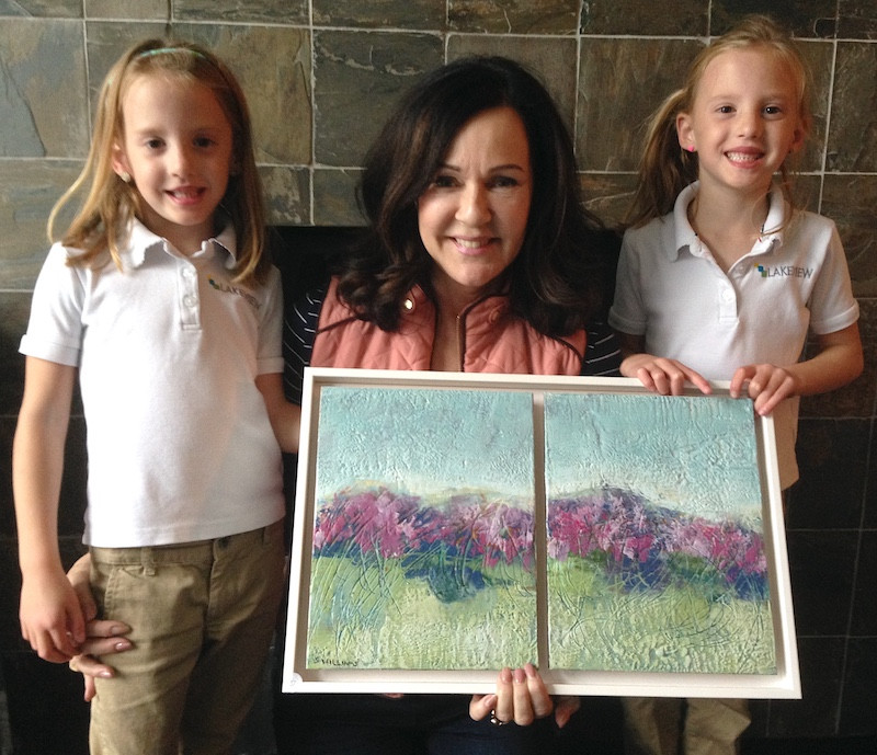 Artist Shirley Williams with her youngest art collectors, 5 year old twins with their new diptych