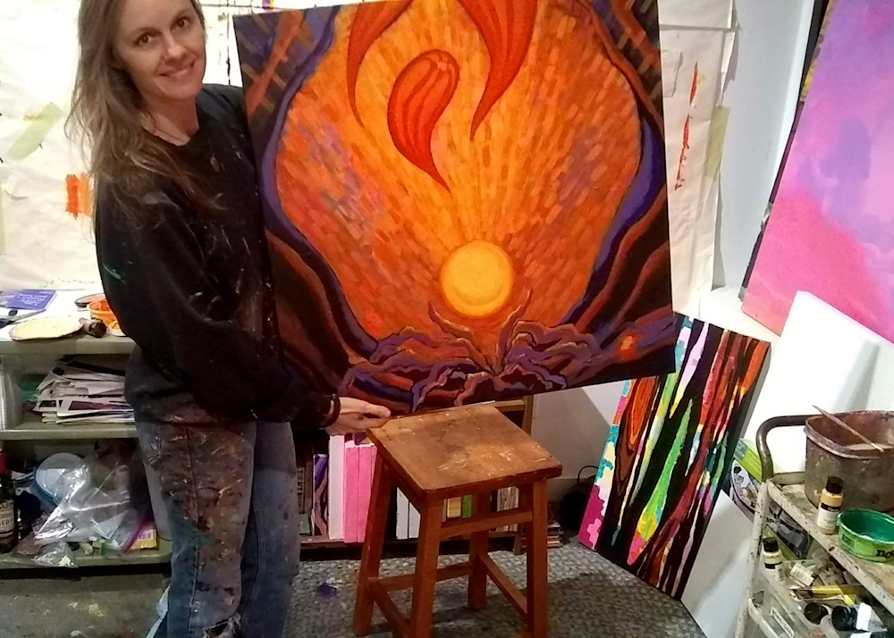 "Jenny with painting ""Becoming"""