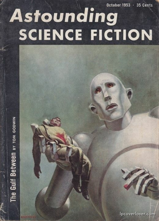 Frank Kelly Freas Illustration of a Robot and dead soldier