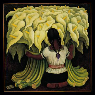 Diego Riveras painting of girl holding a bunch of lilies