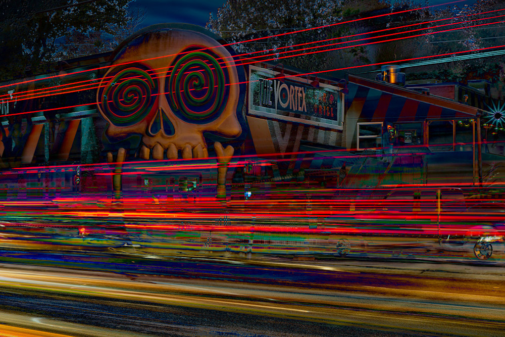 The Vortex in Little 5 Points at Golden Hour with light trails