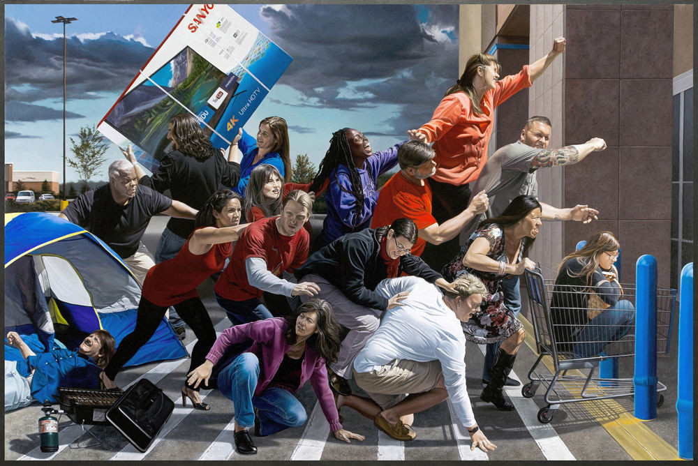 In this painting, Florida artist Kevin Grass shows a crowd of people stampeding to get discounts in a Black Friday sale.