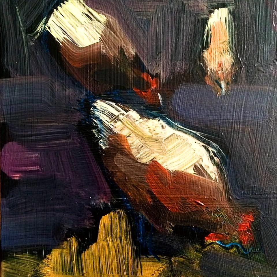 Hens 2, Oil, 7x5 $350
