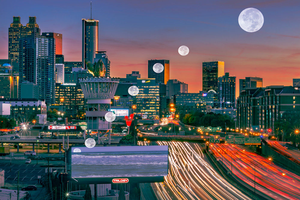 A composite photo of Atlanta with multiple rising moons