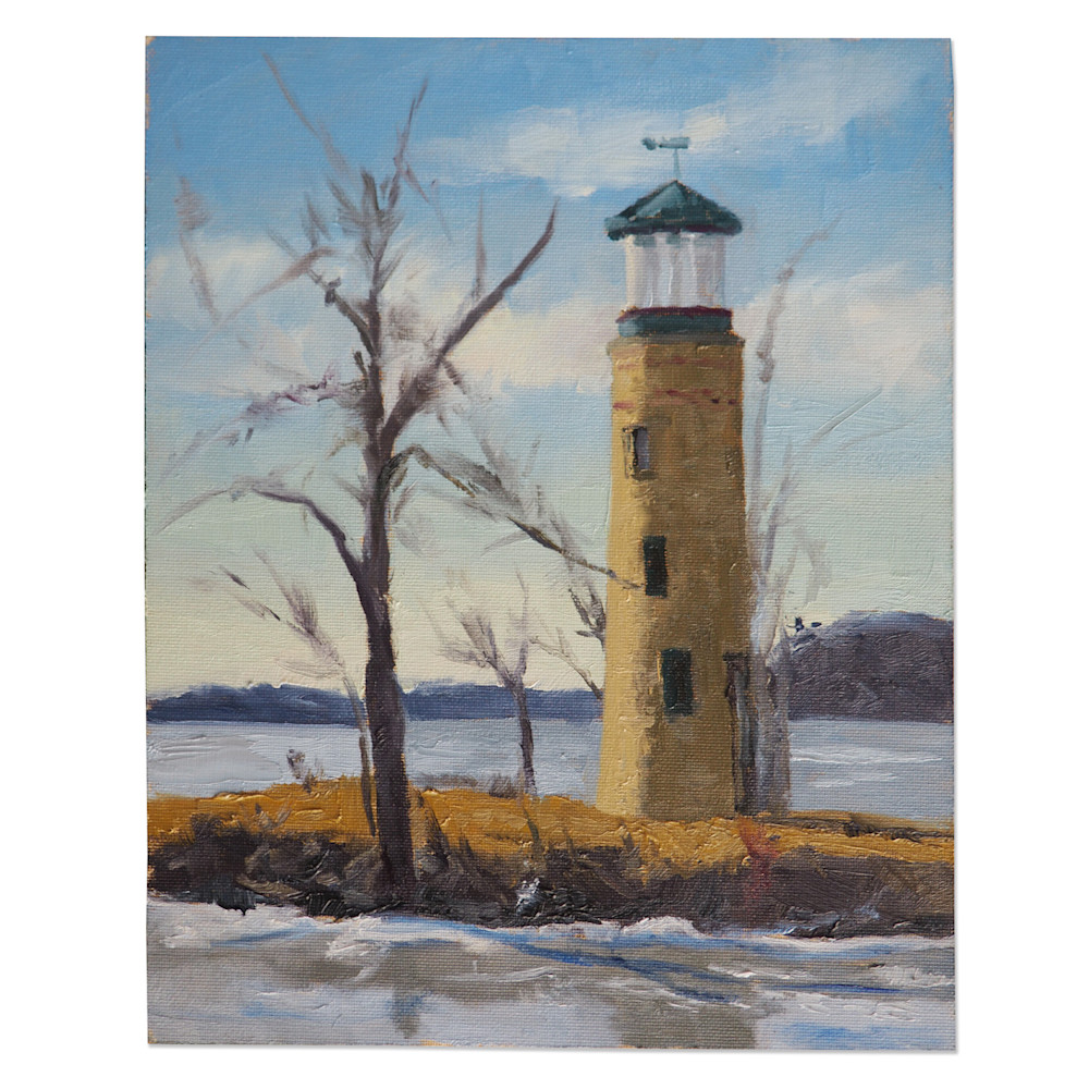 Abbey Fitzgerald Winter Plein Air Painting at Asylum Point Lighthouse