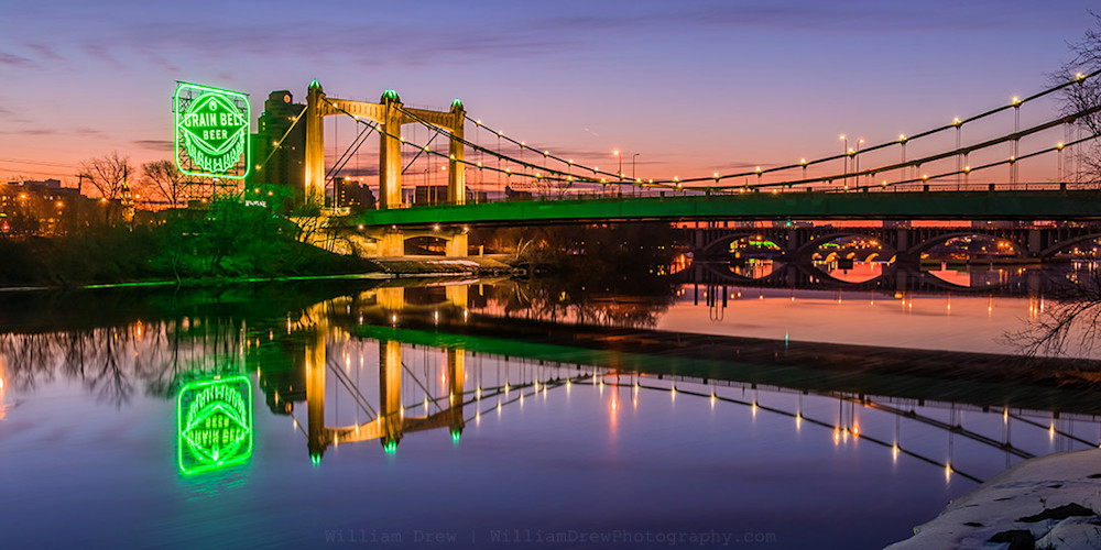 Hennepin Reflections in Green - Minneapolis Art | William Drew Photography