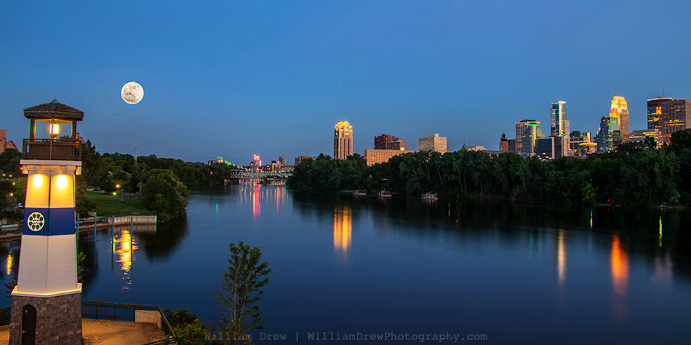 Boom Island Lighthouse and Full Moon - Minneapolis Art Prints | William Drew Photography