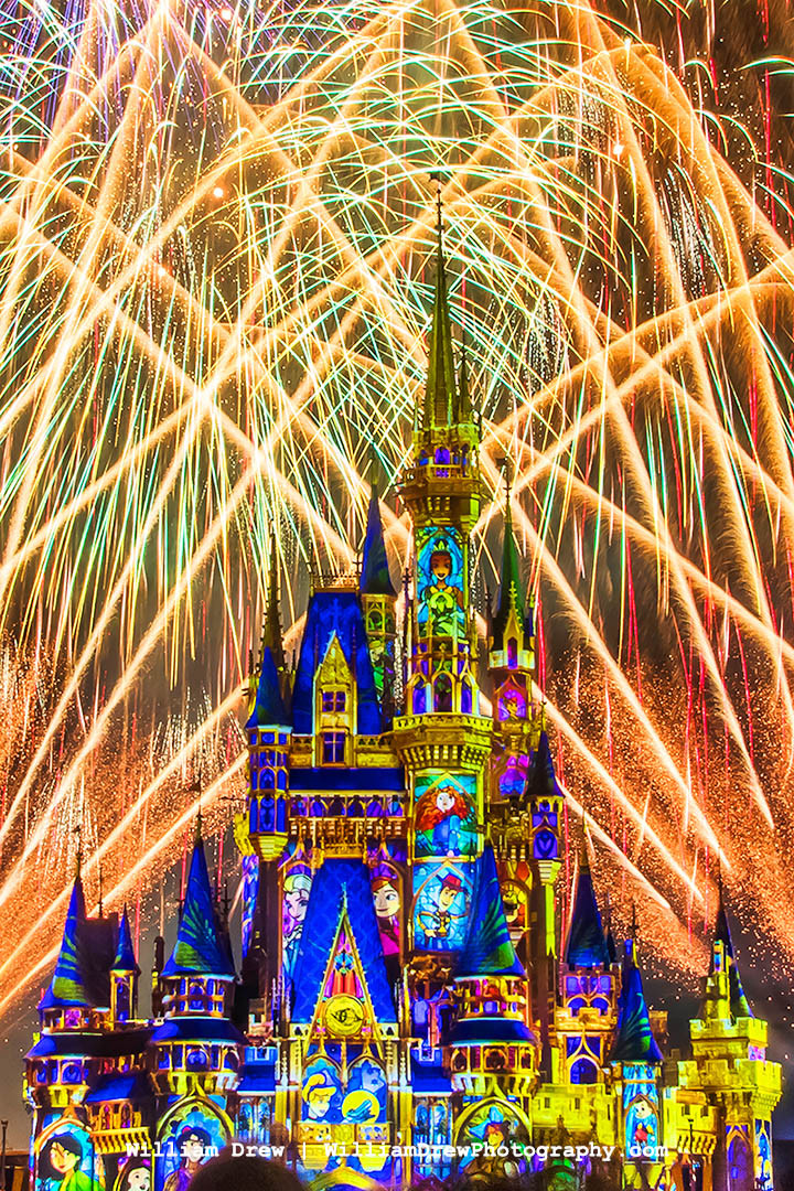 Happily Ever After 33 Characters on Cinderella's Castle - Disney Art | William Drew Photography