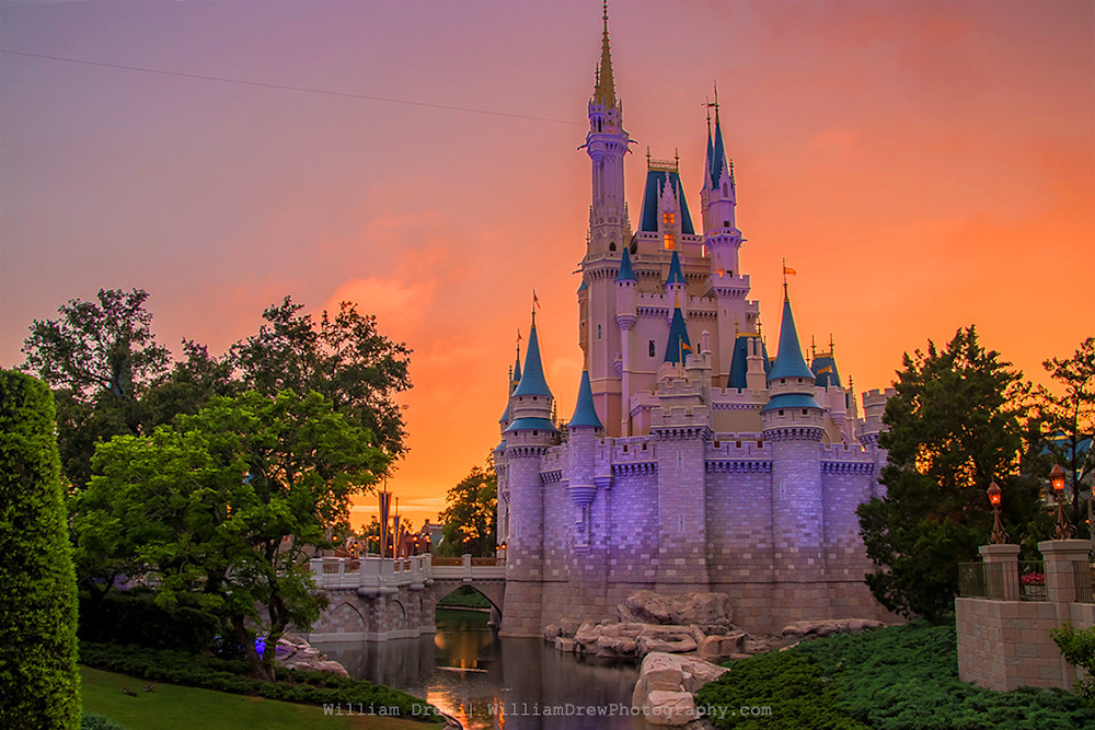 Cinderella's Castle Sunset - Disney Photographs | William Drew Photography