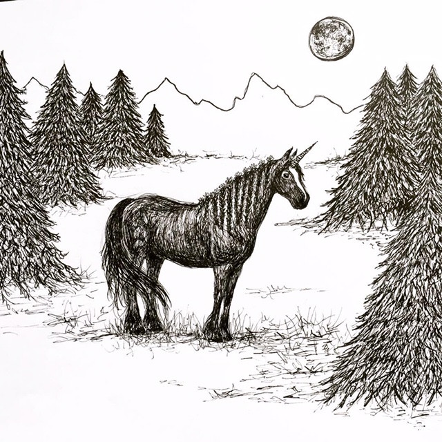 Moonicorn- Original Dark Unicorn Forest Illustration by Becky MacPherson