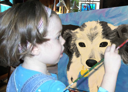 child painting dog in art studio