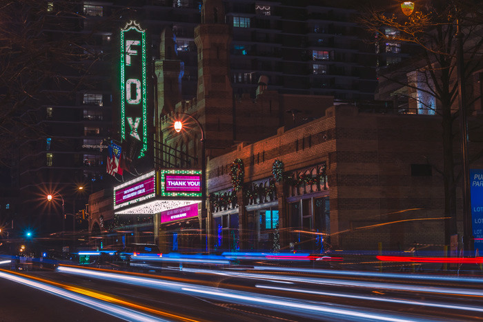 The Fox Theater on Peachtree Street at night with lighttrails from the cars