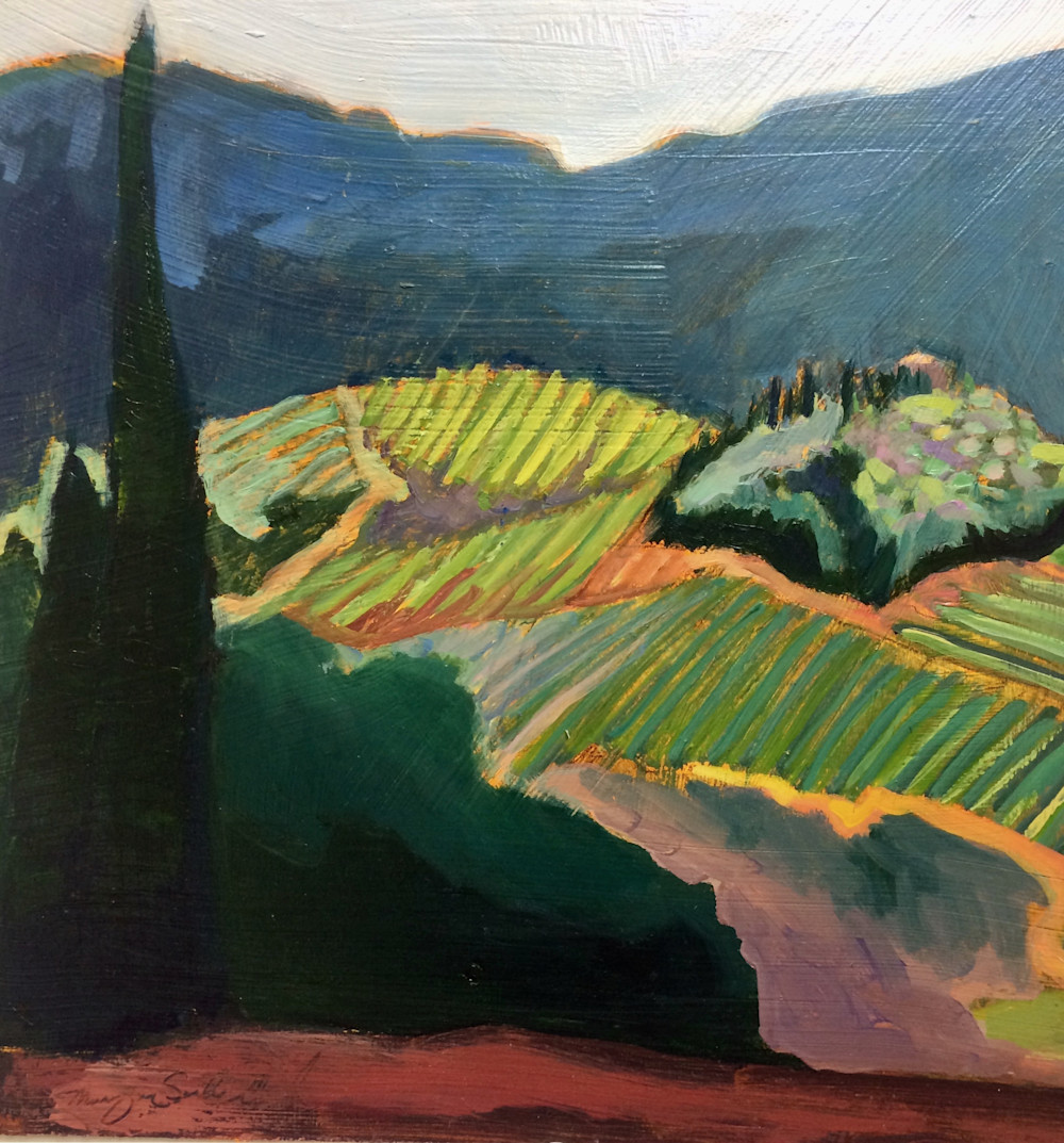 "Tuscany, Orvieto Vineyard View, Oil, 12""x12"""