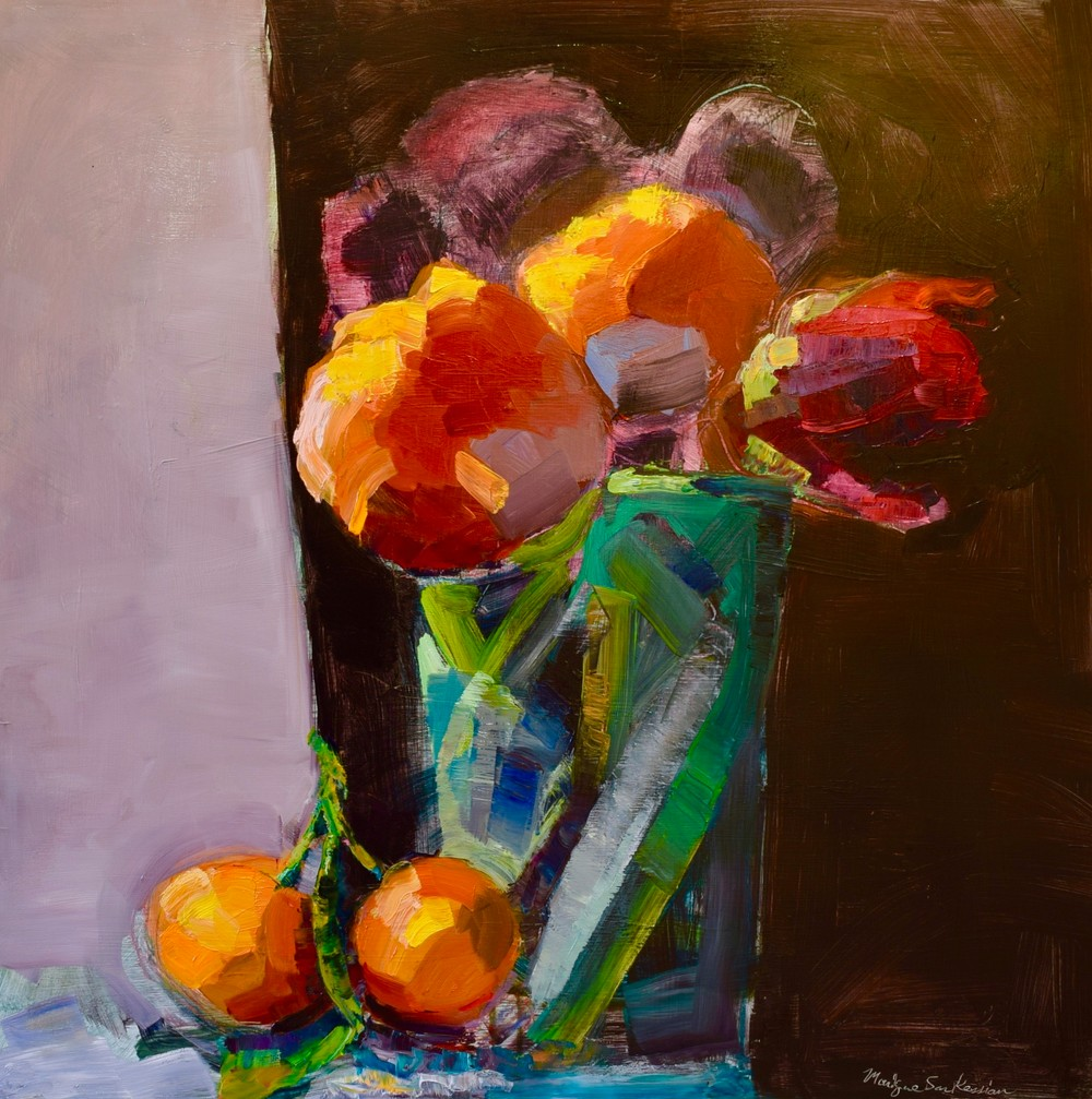 Still Life With Parrot Tulip and Mandarins, Oil, 24x24""