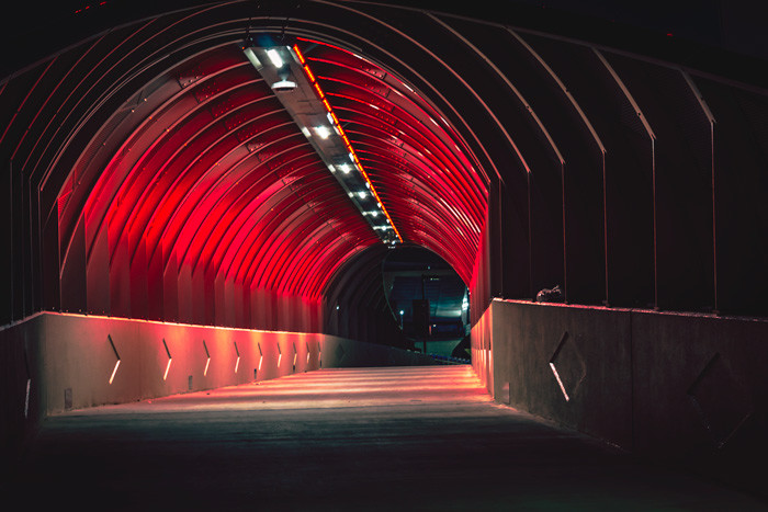 The new pedestrian tunnel at Mercedes-Benz Stadium in Atlanta