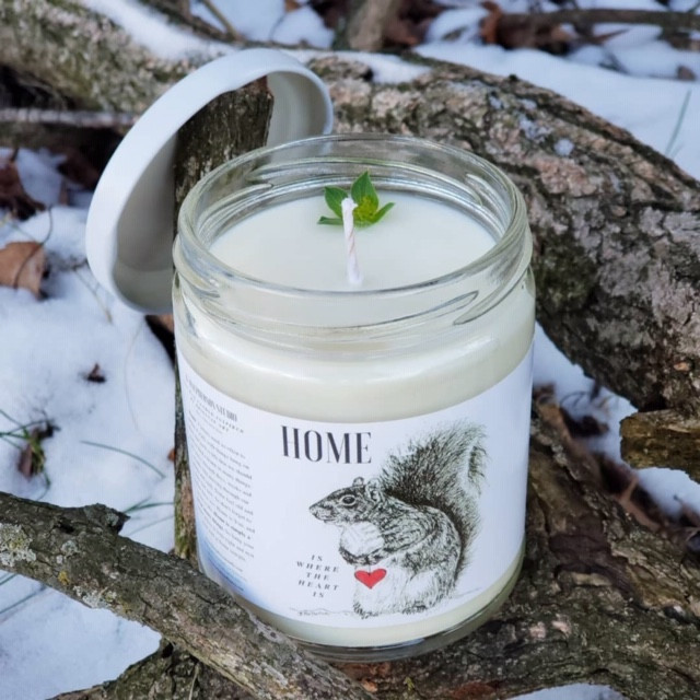 HOME- Yummy Love Light and Legacy Candle with Squirrel Illustration by B.MacPherson