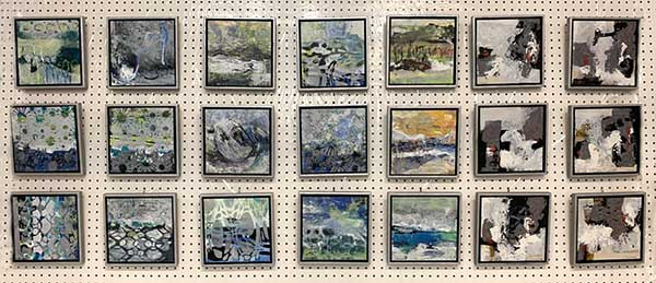 Series of small framed artworks by Shirley Williams