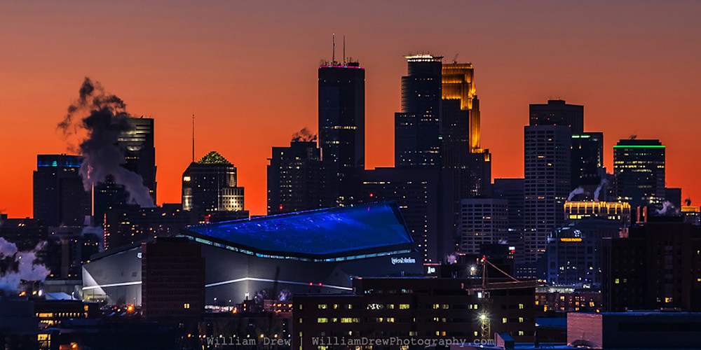 Super Bowl Sunset - Minneapolis Skyline Sunset | William Drew Photography