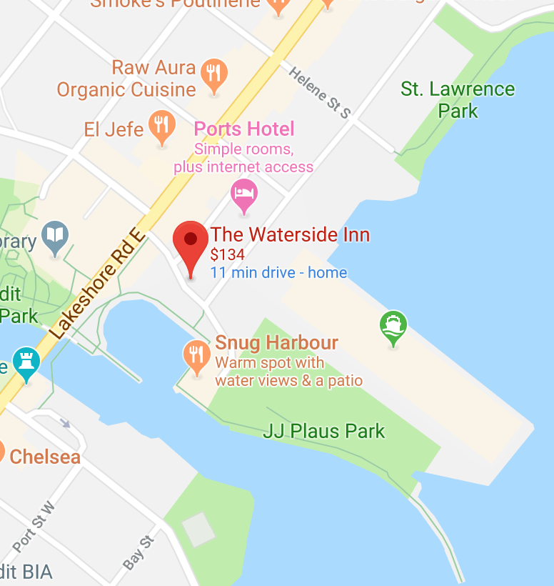 map to waterside Inn, Port Credit Mississauga