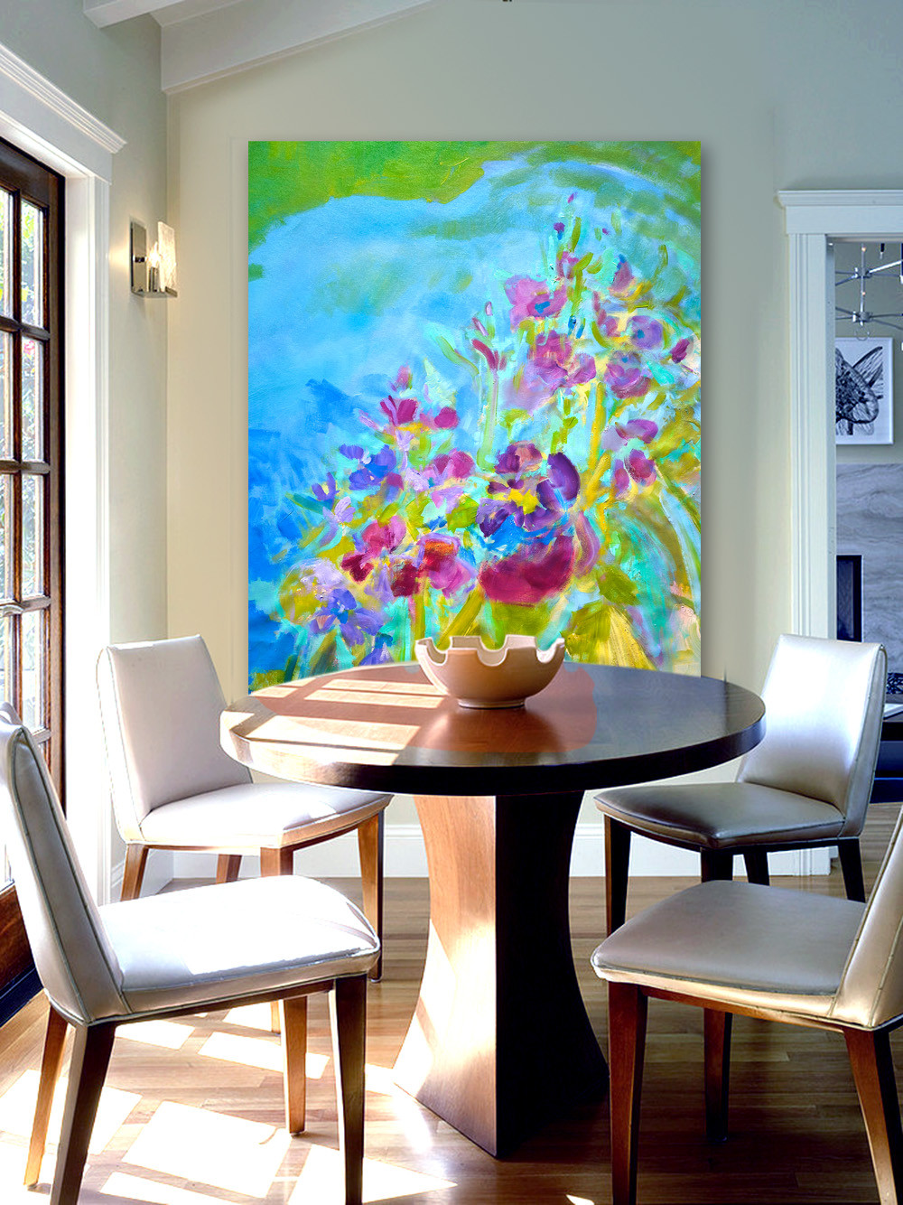abstract floral mural