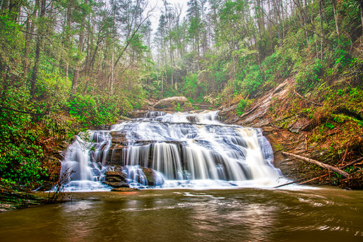 Panther Creek Falls in Georgia's Smoky Mountains foothills is well worth the 3-mile hike.