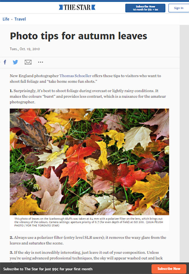 Toronto Star published Article Oct 19, 2010/Thomas Schoeller's Tips for better Fall Foliage photos