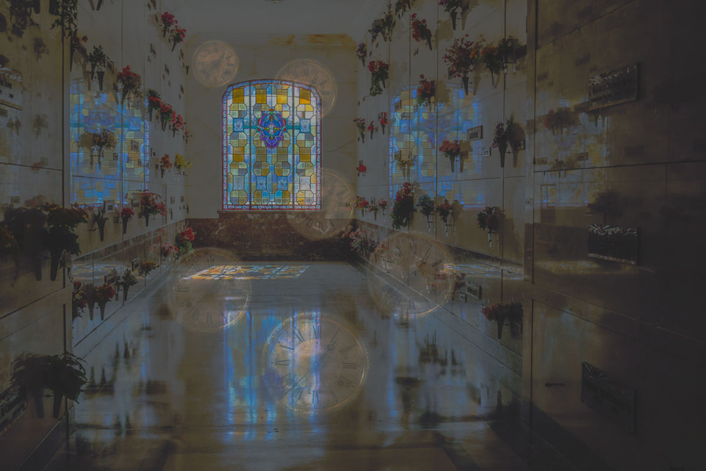 A surreal setting of floating clocks in a mausoleum