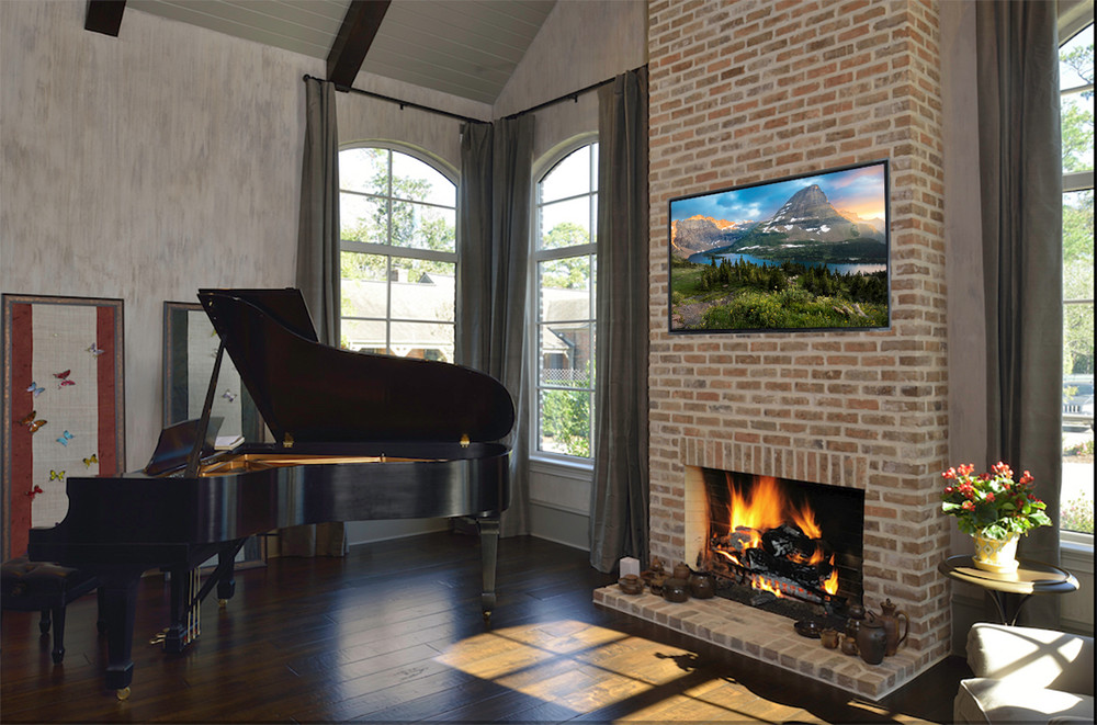 Fine Art Plaq-Mount with black edge treatment over the fireplace