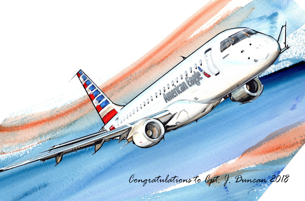American Eagle Commuter plane commissioned artwork