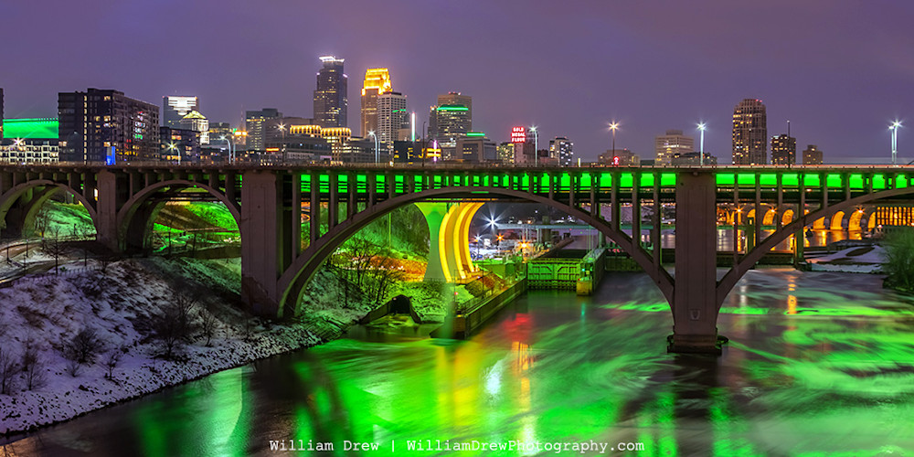 Minneapolis Skyline Saint Patrick's Day - City Art   William Drew Photography