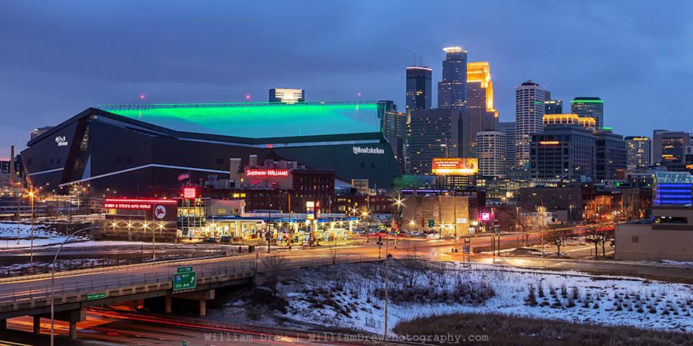 US Bank Stadium Saint Patricks Day - Cityscape Minneapolis   William Drew Photography