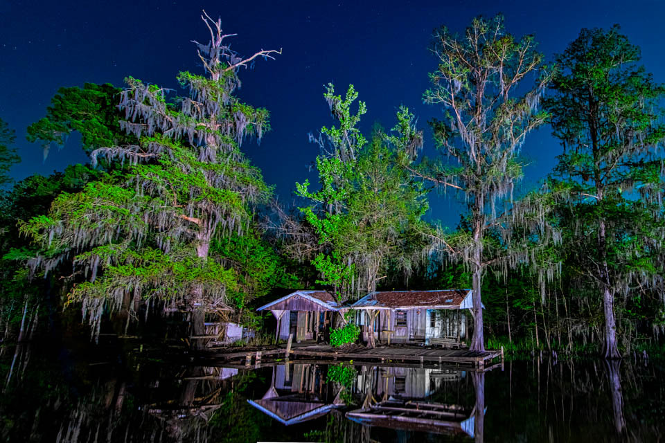 "This old, abandoned camp deep in the Maurepas Swamp WMA was lighted at night as part of my ""Swamp After Dark"" photography project."