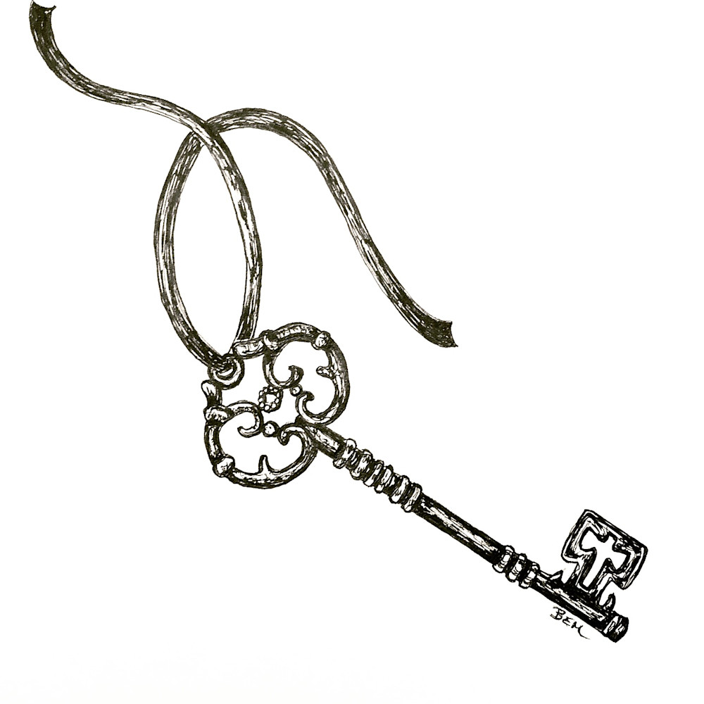 Antique Key Illustration by Becky MacPherson