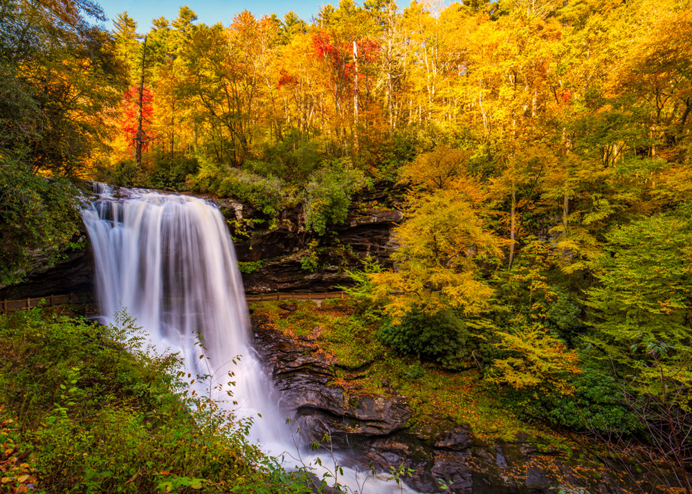 Callasaja Falls is amazing when fall colors ring the huge falls near Highlands, N.C.