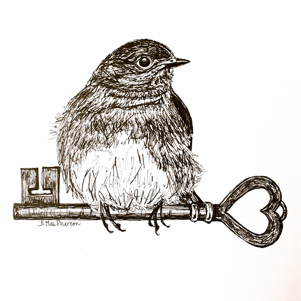 Bluebird with Antique Key Illustration by Becky MacPherson