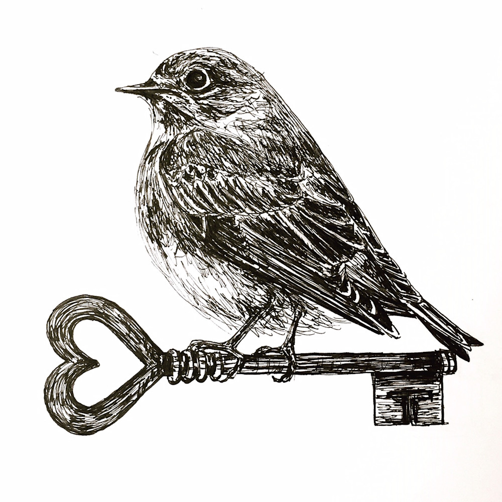 Bluebird with an Antique Key Illustration by Becky MacPherson