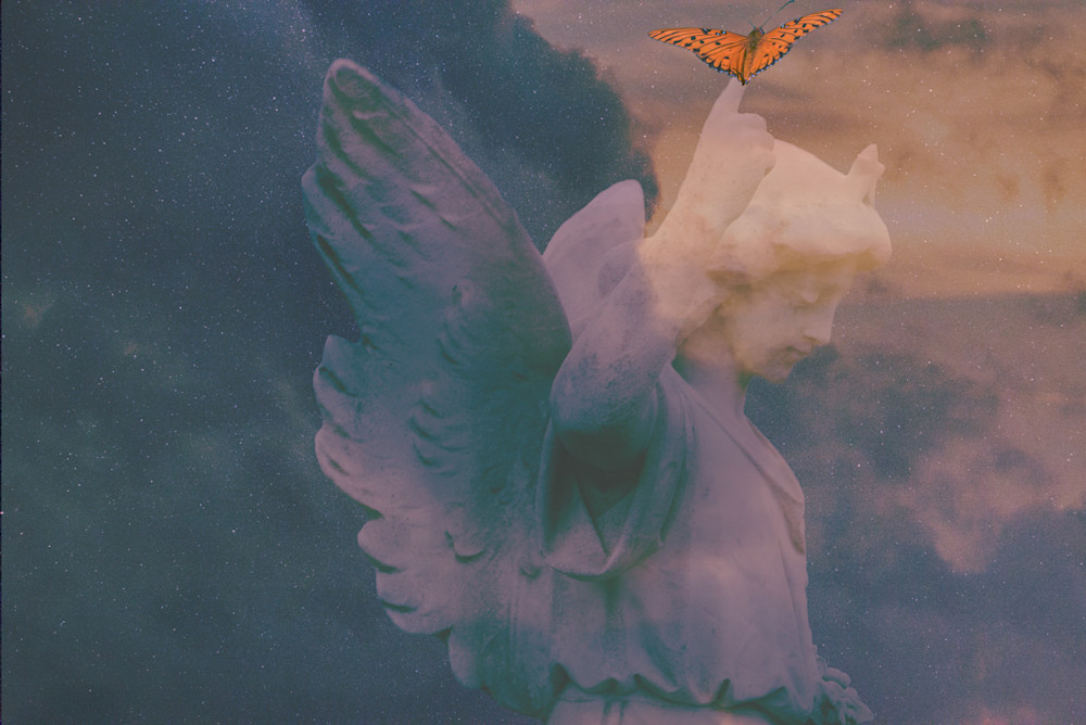 A fine-art photo composite of an angel in the sky with a butterfly
