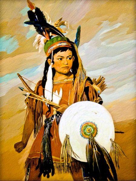 Indian Boy Art Print - The Gallery Wrap Store