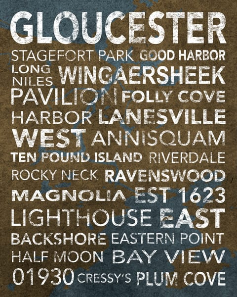 Gloucester Earthy With Map Underlay Art | capeanngiclee
