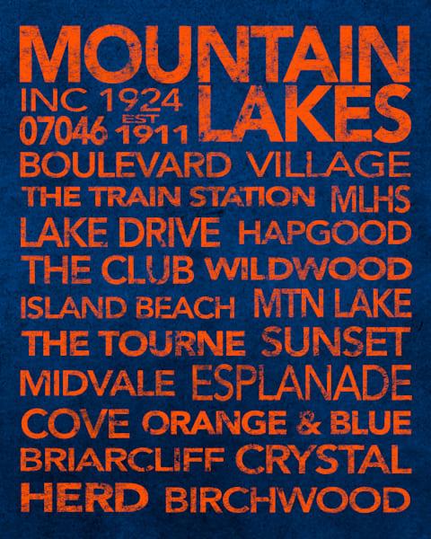Mountain Lakes Orange On Blue Art | capeanngiclee